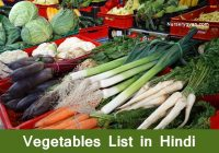 Vegetables list in Hindi